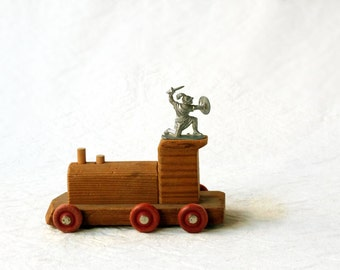Vintage Wooden Locomotive, toy train with red wheels
