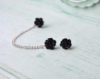 Black Rosettes Cartilage Earring (Pair)