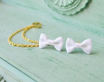 Mini White Bow Chain Ear Cuff Earrings (Pair)