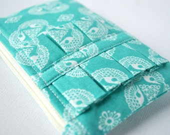 Coin purse wallet Intricate bali bird lace print aqua blue and white with ruffle.