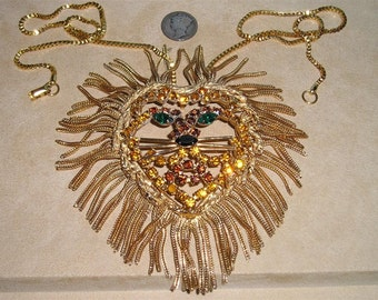Vintage Lion Head Necklace Rhinestones Fringed 1960's Jewelry 2280