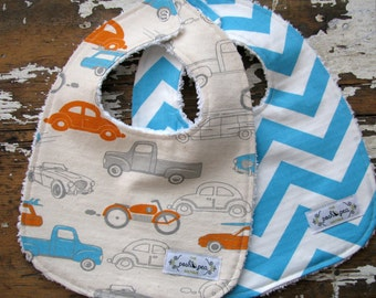 Baby Bibs Boy - Set of 2 - Retro Cars in Orange, Grey and Turquoise Blue & Turquoise Chevron