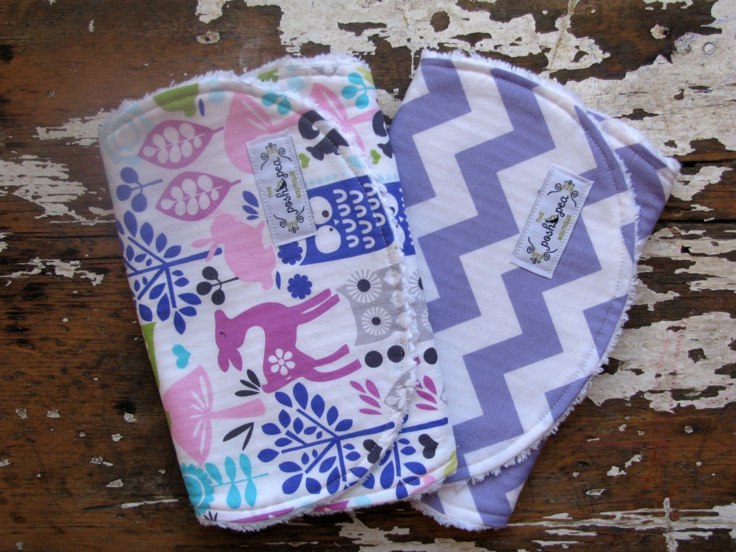 Baby girl burp cloths set of 2 lavender by theposhpeaboutique