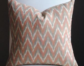 Ready to ship-Designer Pillow Cover-20x20-Adari Ikat-Chevron Pillow-Accent Pillow-BOTH SIDES-Rust-Gray- Cream