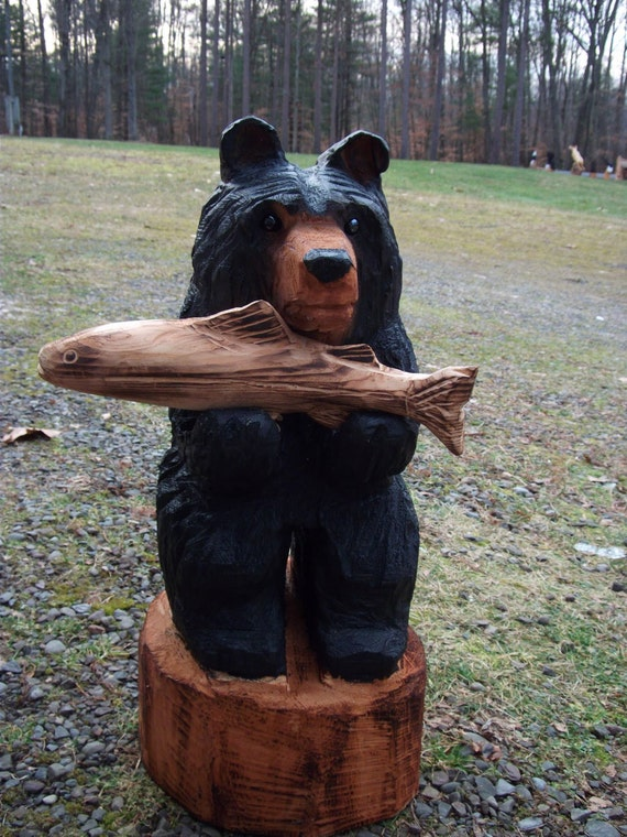 Items similar to quot chainsaw carved bear with fish on etsy