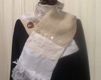 Patchwork Linen and Lace Scarf