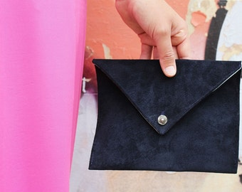 Suede Leather Envelope Clutch