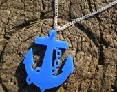 Anchor Necklace - Nautical Necklace -Blue Acrylic Plastic Pendant on Silver Plated Chain - Rockabilly