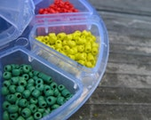 3300 Seed Beads 8 Assorted Colors in Storage Box Size 7 Red Maroon White Black Pink Blue Green and Yellow