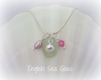 Seaglass Necklace Jewelry -  English Sea Glass, Seafoam, with FW Pearl, Swarovski Crystal, and Sterling Sea Shell Charm - Genuine Sea Glass