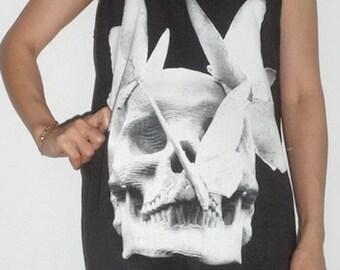 Black  SKULL Singlet Tank Top T-Shirt Mini Dress
