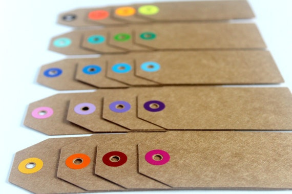 20 Kraft Gift Tags, Coloured Reinforcement Rings, Thick Cardstock, Choose Your Colours