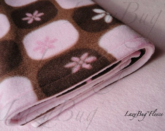 PackNPlay Sheet Blanket Set  Fleece Bedding Set for Baby Girls 'Chocolate Silk' Print