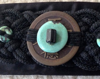 Vintage Japanese Obi style Belt with coin and turquoise focal stone