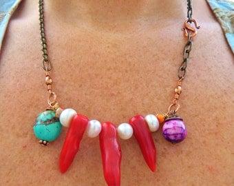 Tribal Red Coral Bib Statement Necklace white pearls copper blue turquoise orange jasper and purple agate