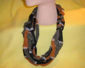 Recycled T-shirt Infinity Scarf Necklace, rusty brown, tarn tshirt yarn