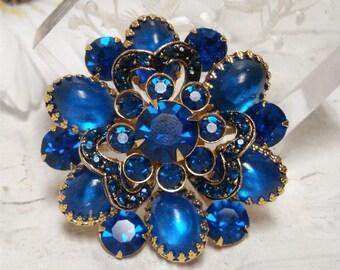 Electric Blue Rhinestone Brooch Gold Tone