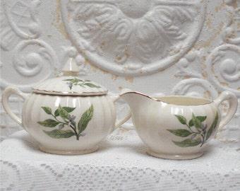 Cream Sugar Set Leaf White Flower Excellent