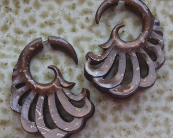DANAR Coconut Wood Earrings - Tribal Fake Gauges - Double Wing Design - Hand Carved Body Art Jewelry