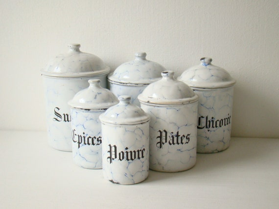 Antique French Enamel Kitchen Canisters Six Vitreous Enamel