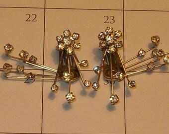 Kramer Starburst Rhinestone Earrings 1950's