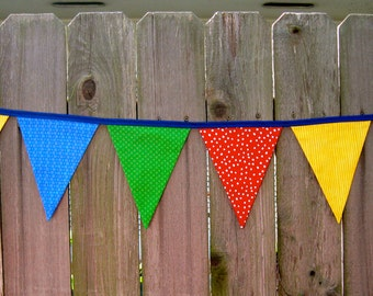 Primary Colors - Fabric Bunting Banner - Sesame Street - Classroom - Circus - Nursery - Room Decor - Red Yellow Blue & Green - 9 Large Flags