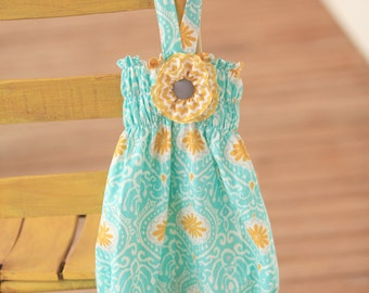 Infant Aquamarine Baby Bubble with Detachable Yellow Chevron and Grey Flower & Halter Back