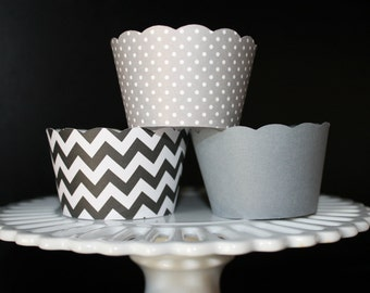 Black chevron stripe and Grey polka dot cupcake wrappers
