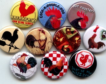 """ROOSTERS 10 Pinback 1"""" Buttons Badges Pins"""