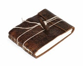"""Leather Journal or Leather Sketchbook with Wooden Toggle, Distressed Brown, Pocket Sized, Handbound Coptic Stitch - 2 3/4"""" x 3 3/4"""""""