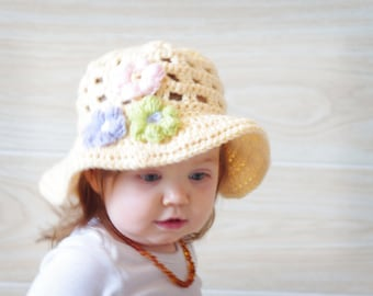 Spring Hat - Summer Hat -  Easter Hat - Babies Crochet Sunhat - Pick Your Color - Easter Hat  - Acrylic Or Cotton