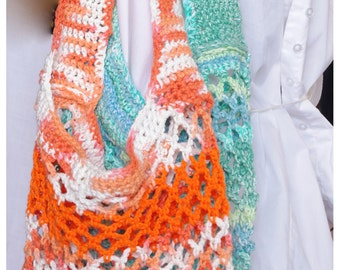 Crochet Market Bag - Farmers Market Bag - COLOR CHOICES AVAILABLE - Cotton Tote - Beach Bag - 100% Cotton - Swimming Bag