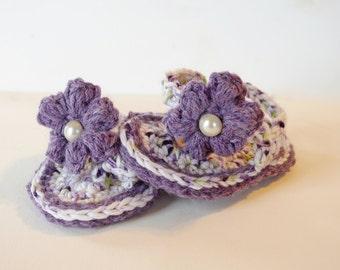 BOGO BOGO BOGO Crocheted Baby Flip Flops - 100% Soft Cotton - Spring Summer Handmade - Violet - Spring Green - White