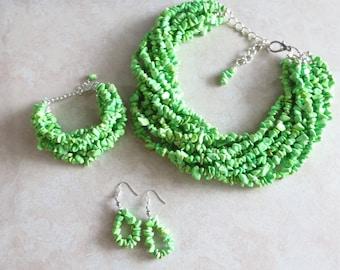 Spring Fresh Apple Green Torsade Statement Necklace, Bracelet & Earrings - Green Turquoise Necklace