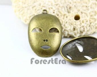 2Pcs 40x26mm Antique Brass Mask Charm Pendant (PND024)