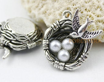 6Pcs Antique Silver Cute Bird Nest Charms Pendant with Bird and Three Eggs 24x24mm (PND132)