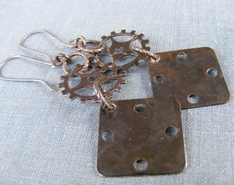 Steampunk 2 Earrings: Dark Brass and Gears