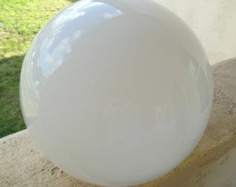 """Vintage Mid Century Modern Globe Ball Shade White Glass Replacement Neckless 11 1/2"""" Diameter 60's - 70's"""
