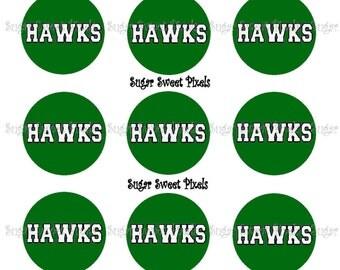 INSTANT DOWNLOAD Green Hawks School Mascot 1 inch Circle Bottlecap Images 4x6 sheet