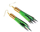 Real Porcupine Quill Earrings - Lime Green - Porcupine Quill Jewelry
