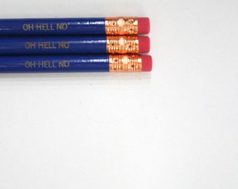 oh hell no  engraved pencil set three 3 midnight blue pencils.