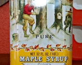 Vintage Maple Syrup Tin Red, Yellow Graphics