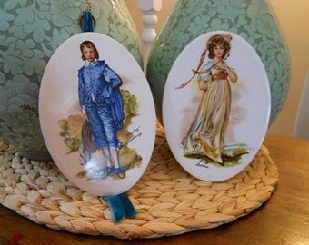 Set of Vintage Ceramic Wall Hangings of Gainsborough's Blue Boy and Pinky 1960s