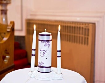 Monogram unity candle with crystals and ribbon colors of choice