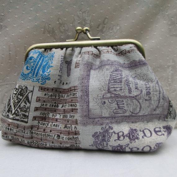 Coin purse - vintage music manuscripts bronze frame retro