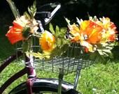 Petal Brite orange poppy bike basket garland