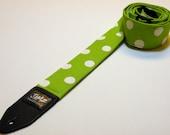Handmade Green & White Polka Dot Guitar Strap