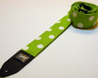 Handmade Double Padded Green & White Polka Dot Guitar Strap