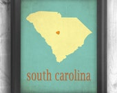 South Carolina - typography map art print 11x14 - customizable state poster custom wedding engagement anniversary wall art decor