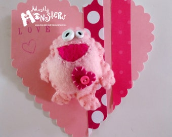 Feltie Pins Pudgy Pink LOVE Monster, Pink Monster, Chubby monster, Feltie brooch, handmade brooch, handstitched felt, free greeting card